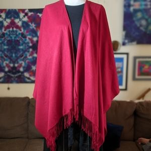 Red Warm Winter Poncho #hundredsofscarves